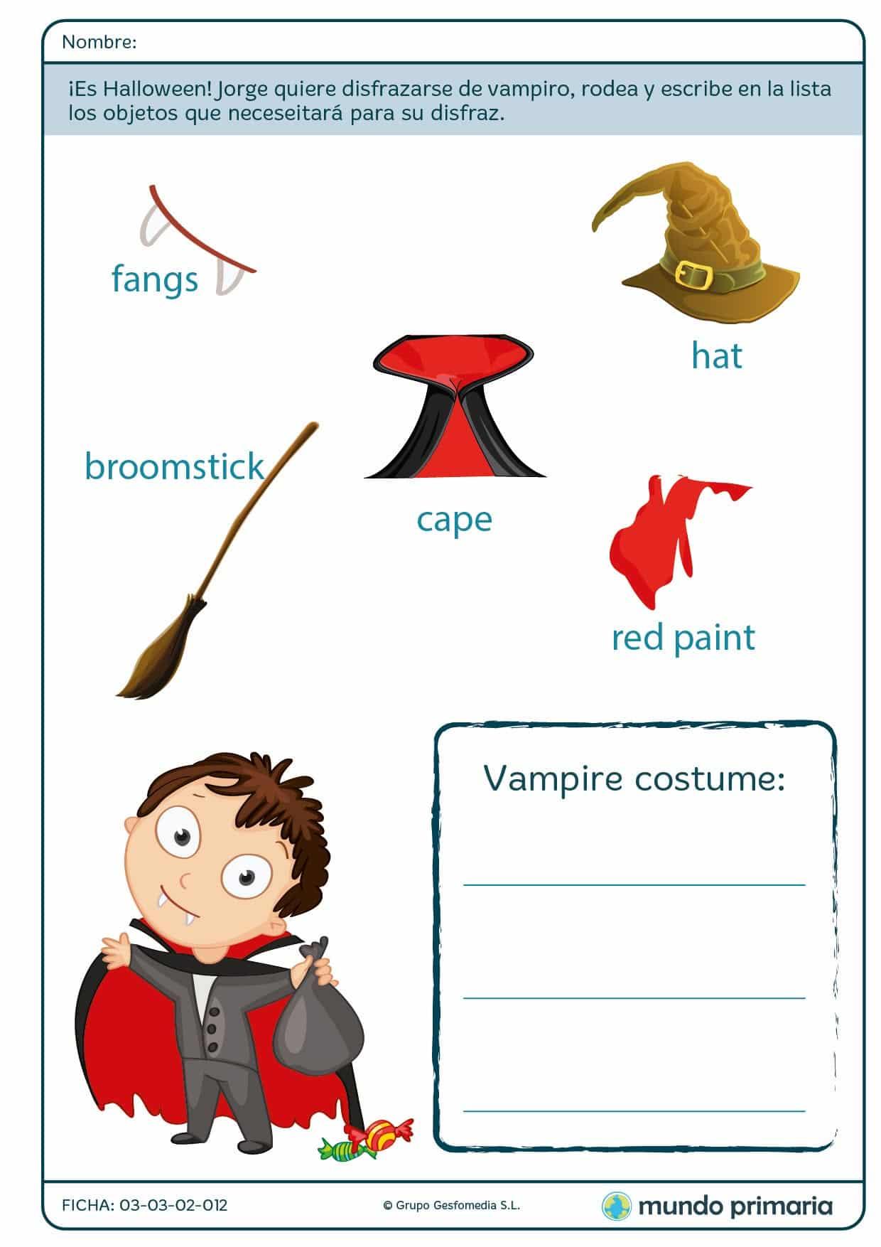 Ficha de inglés sobre las partes del disfraz de vampiro para Primaria