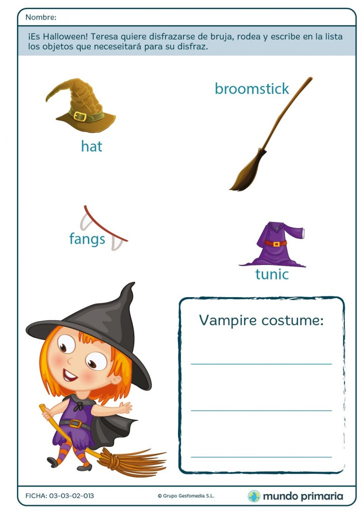 Ficha del disfraz de bruja para niñas de 1º ciclo de Primaria