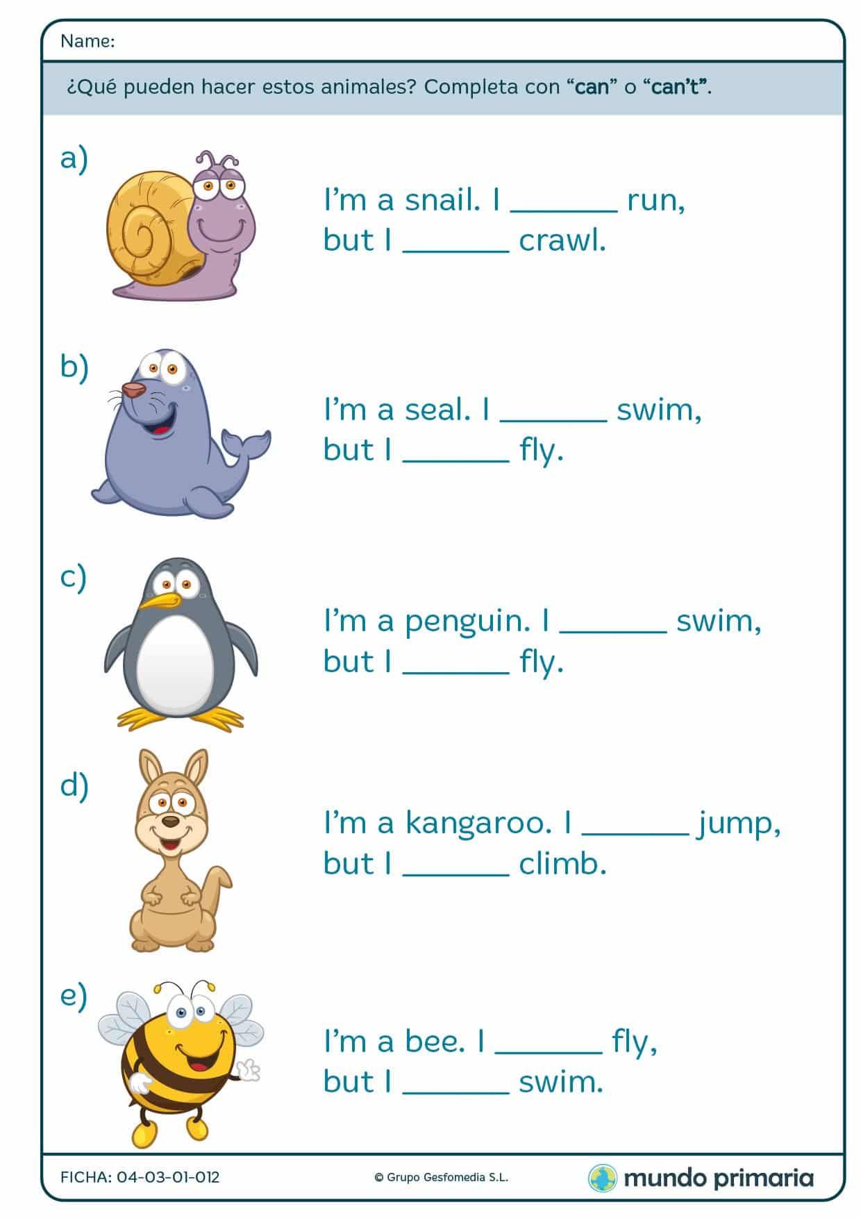 ¿Qué actividades pueden hacer los siguientes animales? Responde
