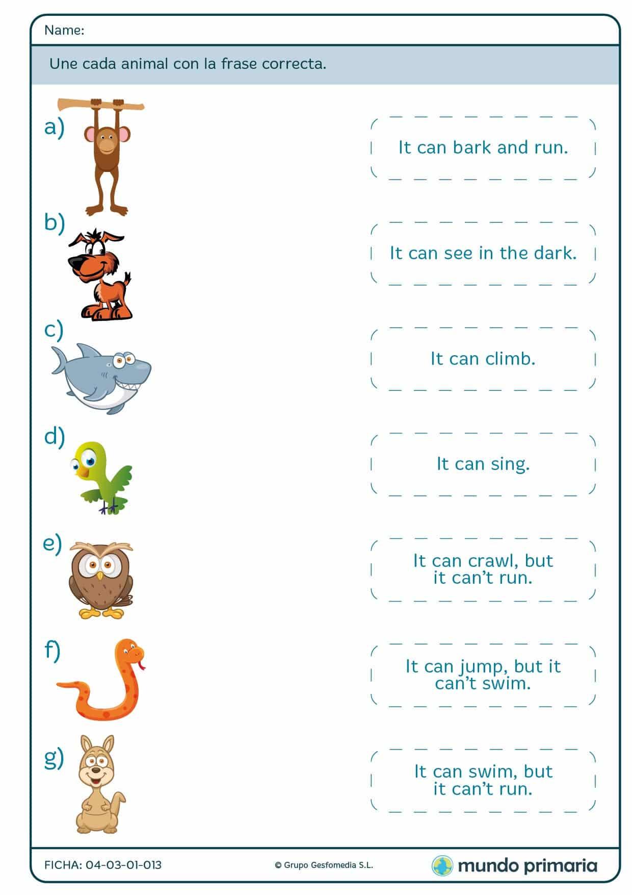 Une cada animal con la frase que encaje en inglés para Primaria