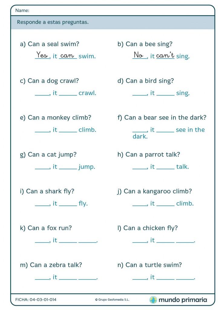 Ficha en la que hay que responder a preguntas sobre animales en inglés