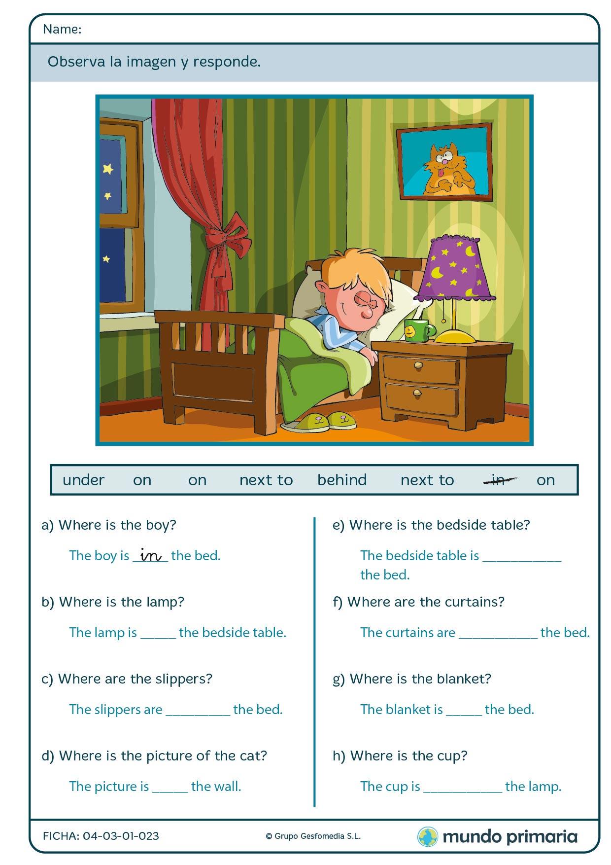 Responde a las preguntas sobre la iamgen superior sobre preposiciones