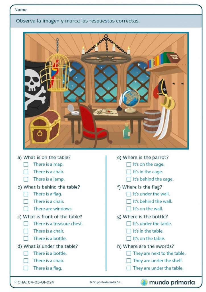 Haz el test sobre objetos y su posición en inglés para Primaria