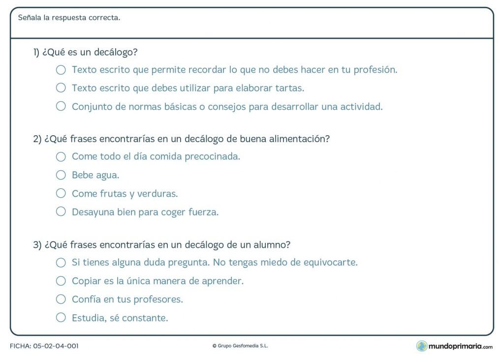 Ficha de lenguaje sobre los decálogos para alumnos de Primaria