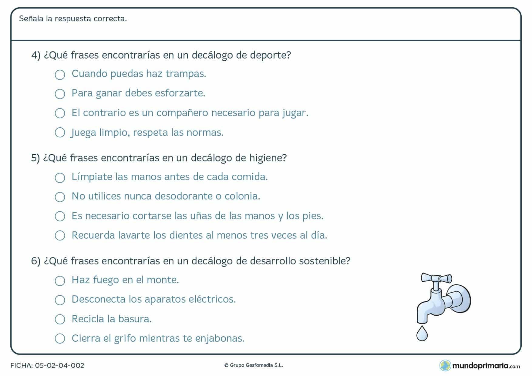 Ficha de los distintos tipos de decálogos que existen para 3º curso