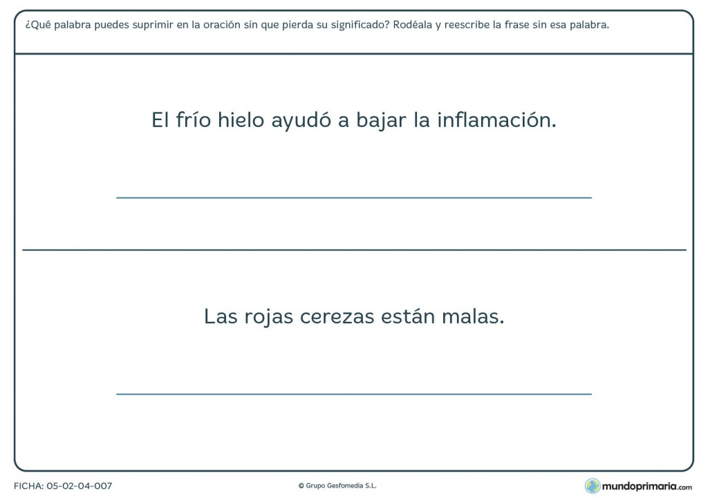 Ficha de lengua sobre palabras que se pueden omitir para Primaria