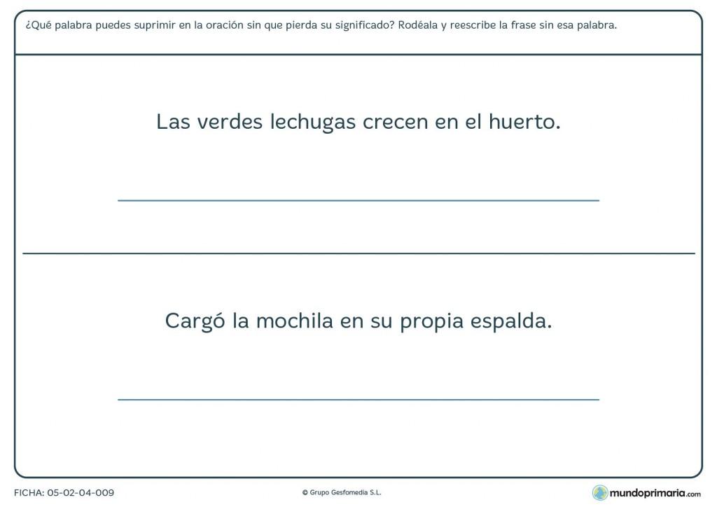 Ficha de rodear la palabra que sobra en las frases para 3º curso