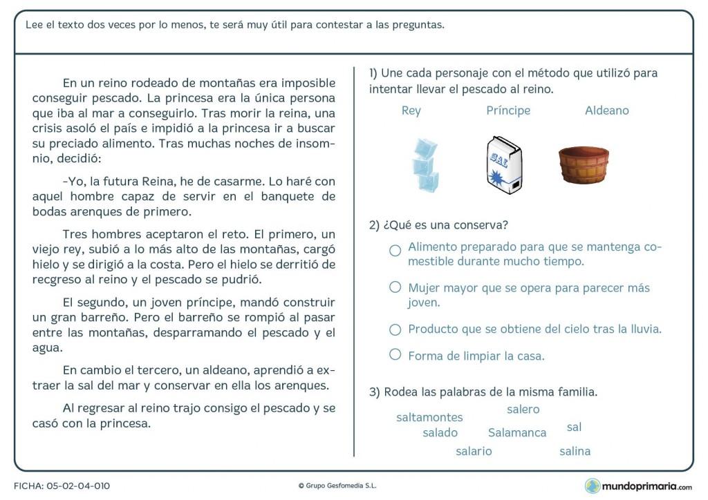 Ficha de contestar a las preguntas del texto sobre comprensión lectora