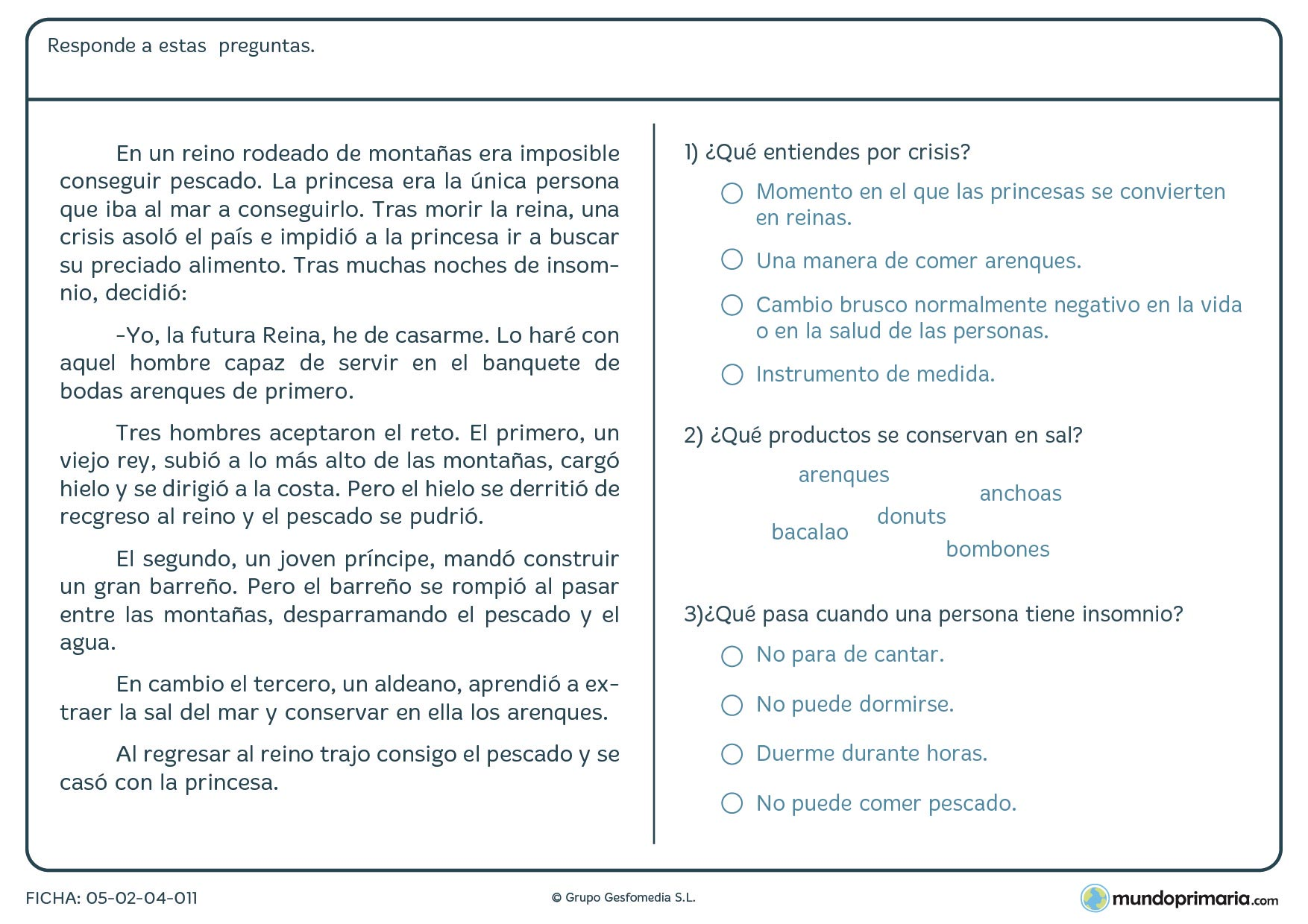 Ficha de lenguaje de leer el texto y responder para niños de 3º curso