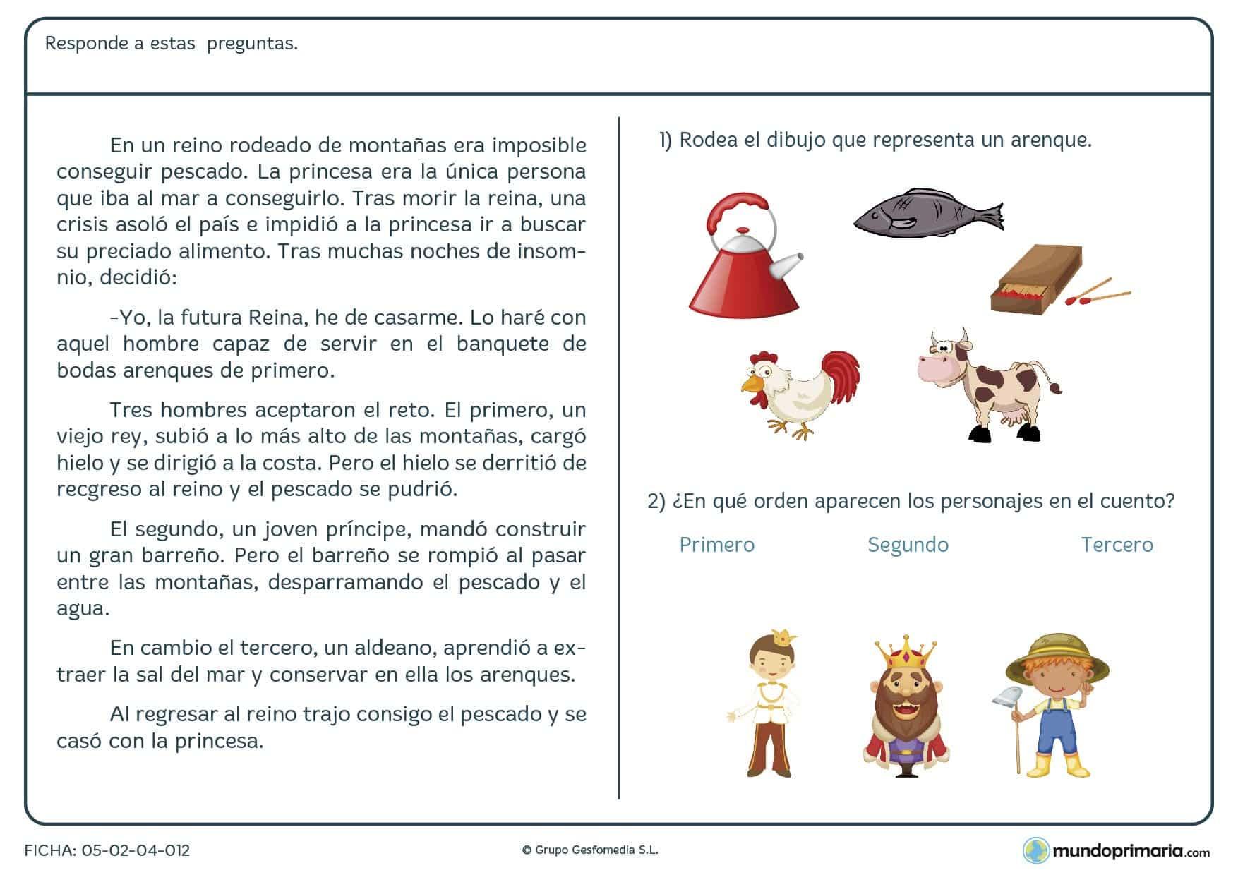 Primaria ejercicios comprensión lectora lengua tercero