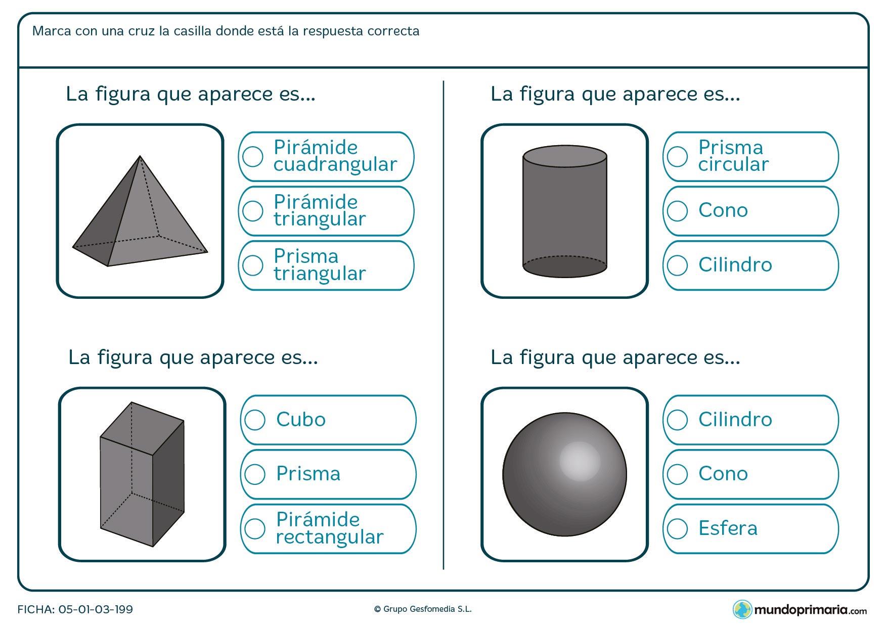 Ficha con cuatro cuerpos geométricos a identificar para 6º Primaria