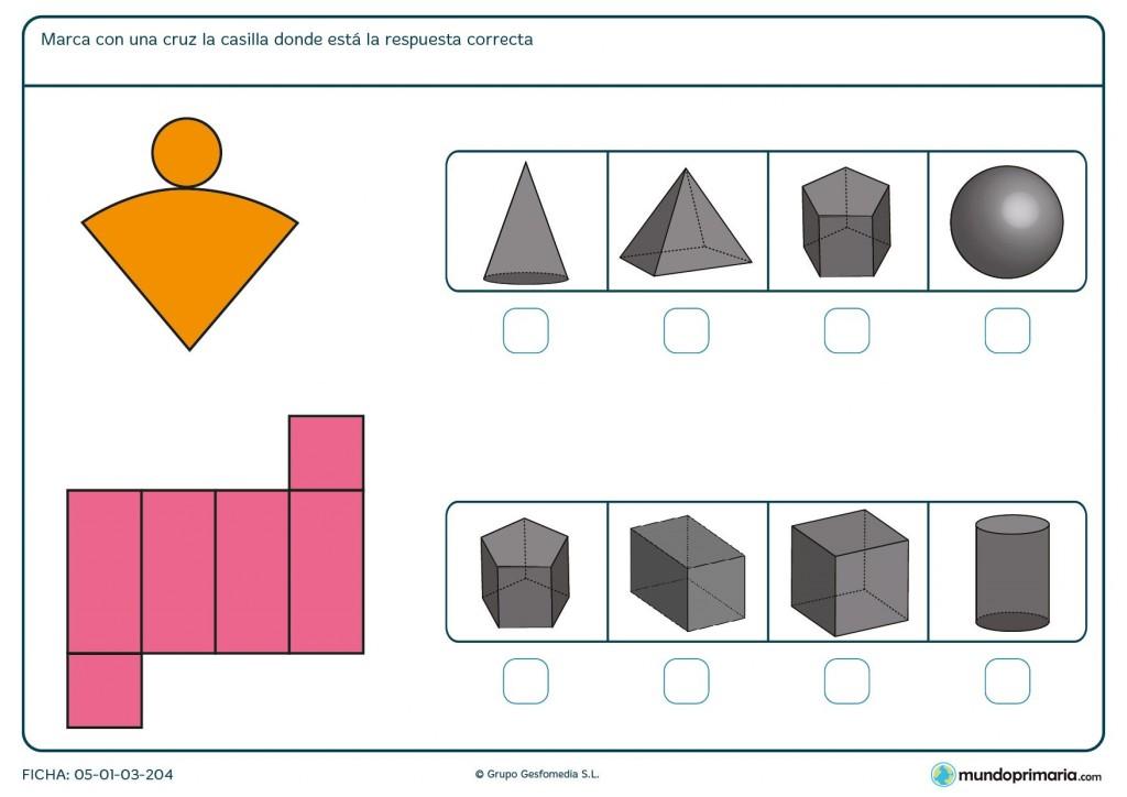 Ficha para escoger el cuerpo geométrico formado por la figura para 6º