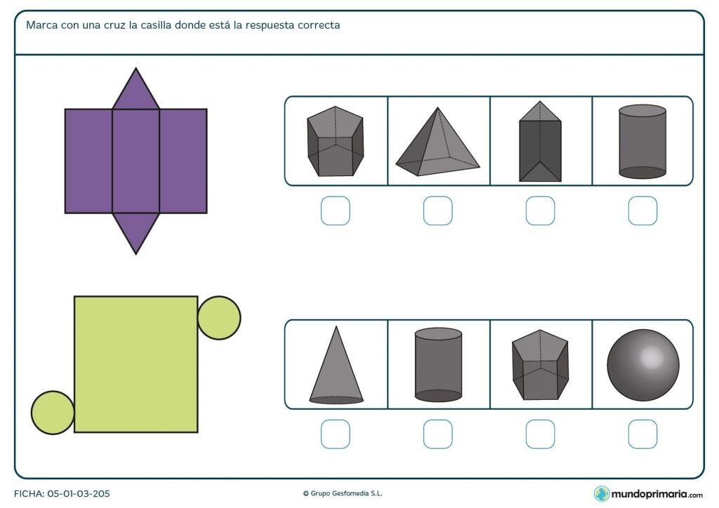 Ficha seleccionar la forma que realizaría la figura plana para 6º