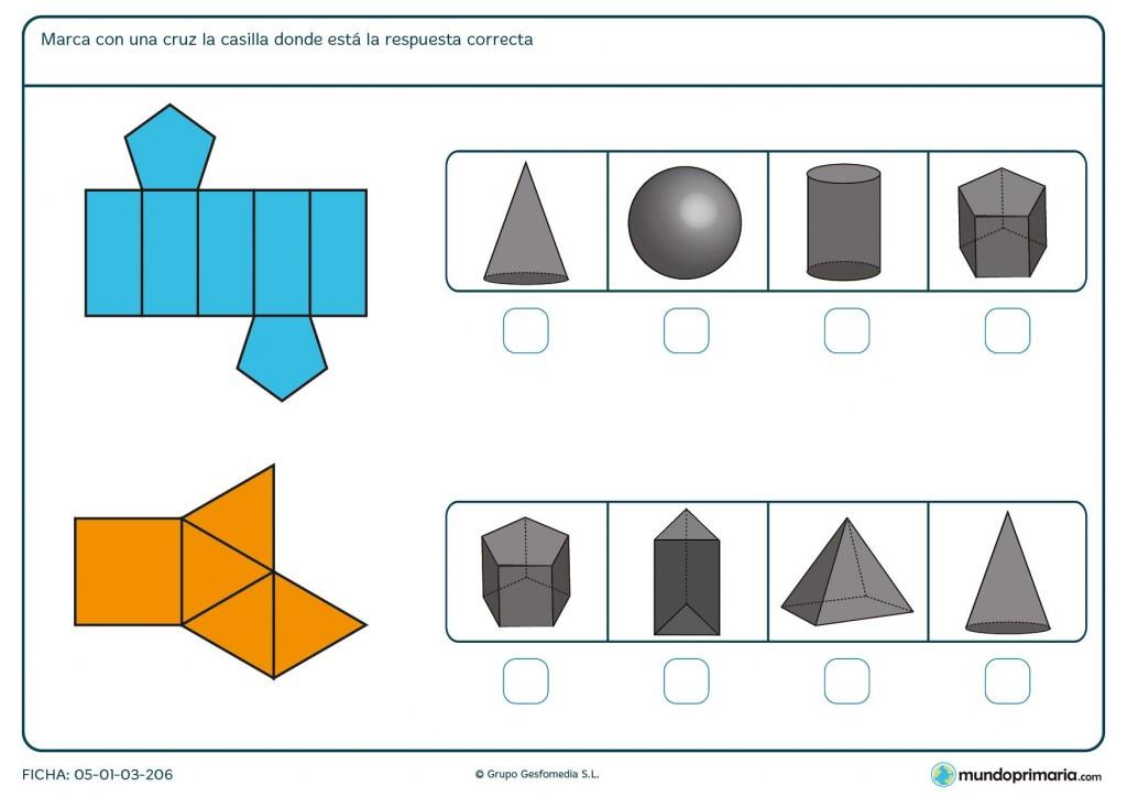 Ficha con la evolucion de una figura plana a cuerpo geométrico para 6º