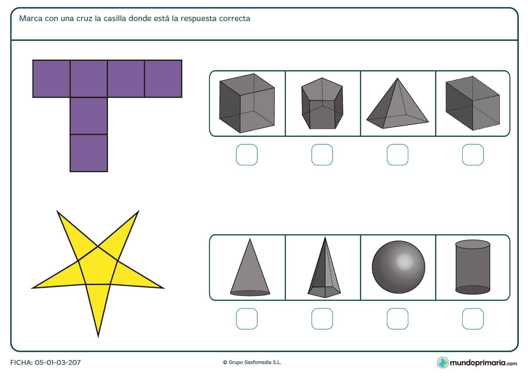Ficha para marcar la solución correcta del cuerpo geométrico para 6º