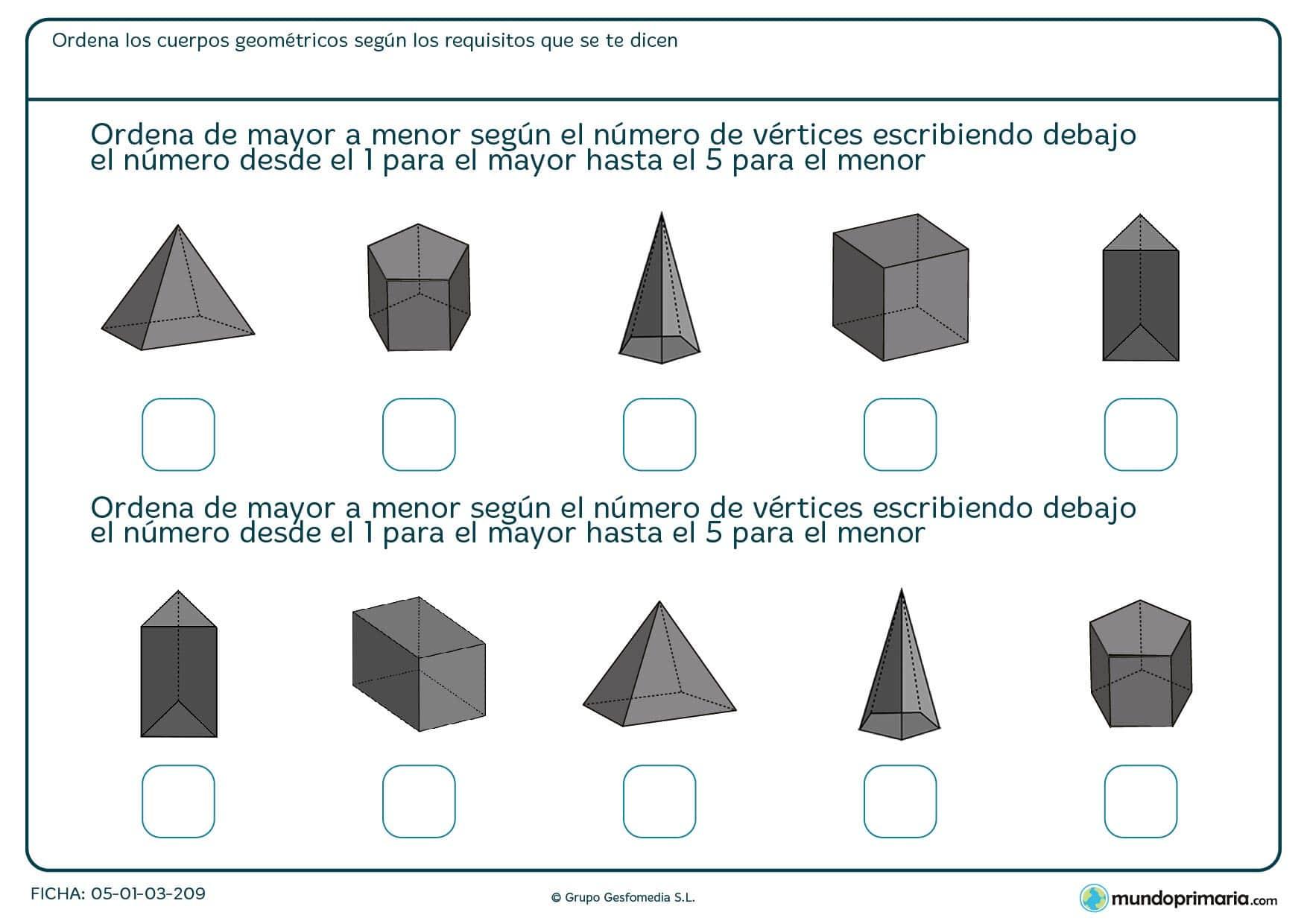 Ficha con 5 cuerpos para ordenar por el número de vértices para 6º