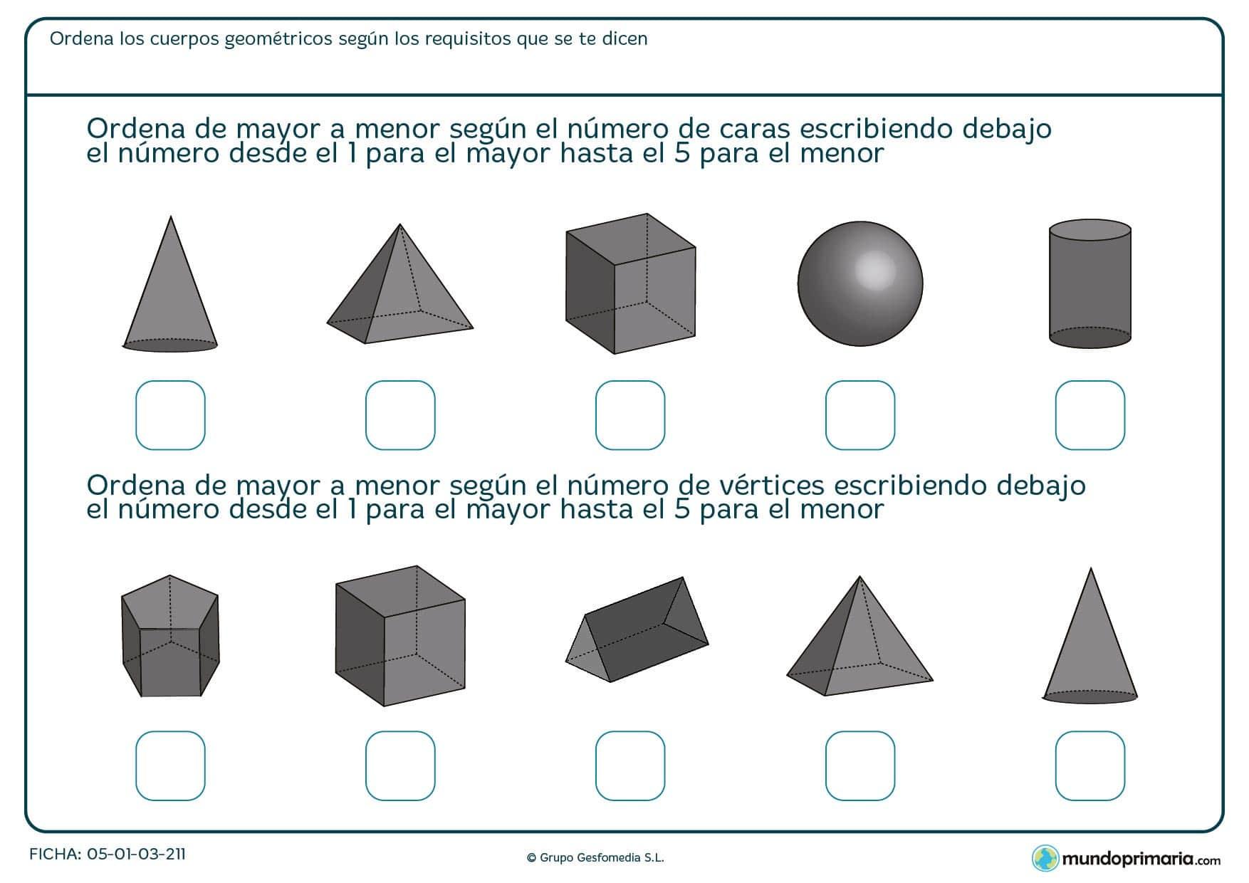 Ficha de ordenación de imágenes por número de aristas para 6º