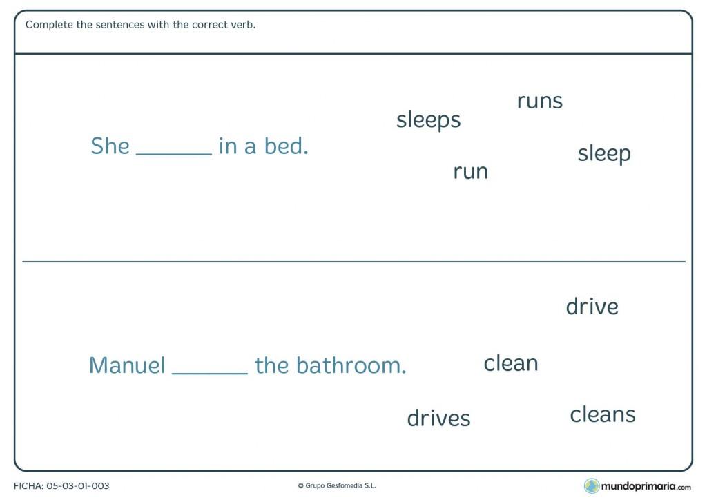Ficha de terminar la frase con el verbo que encaje con el significado