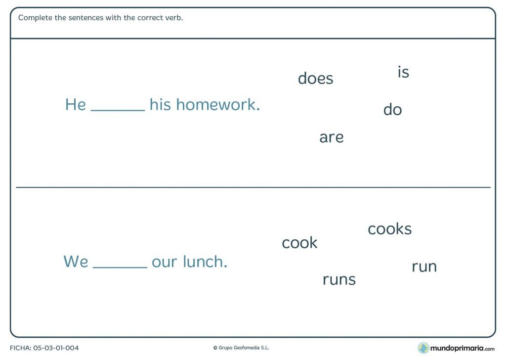 Ficha en inglés de completar con el correct verb para 3º de Primaria