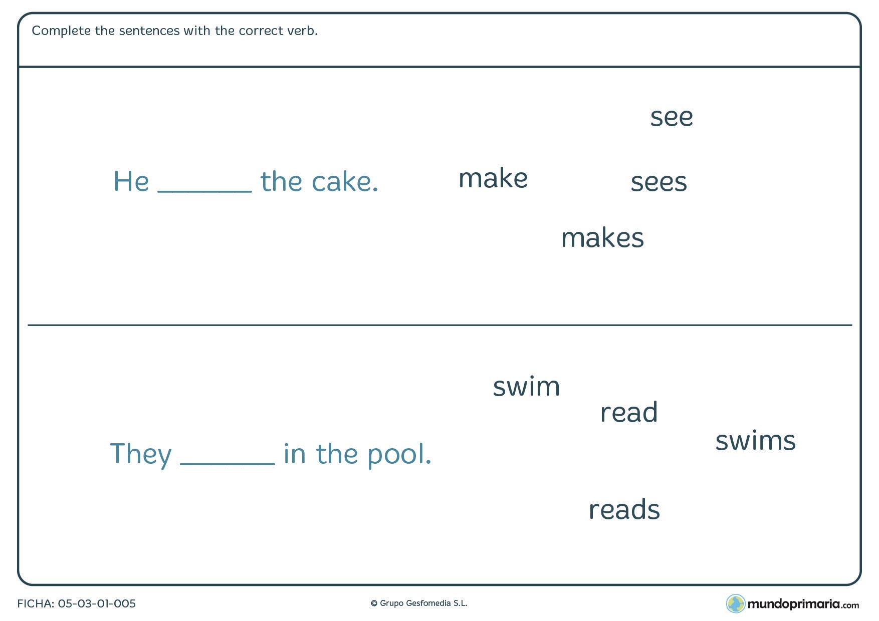 Ficha en la que hay que colocar el verbo en la frase en inglés