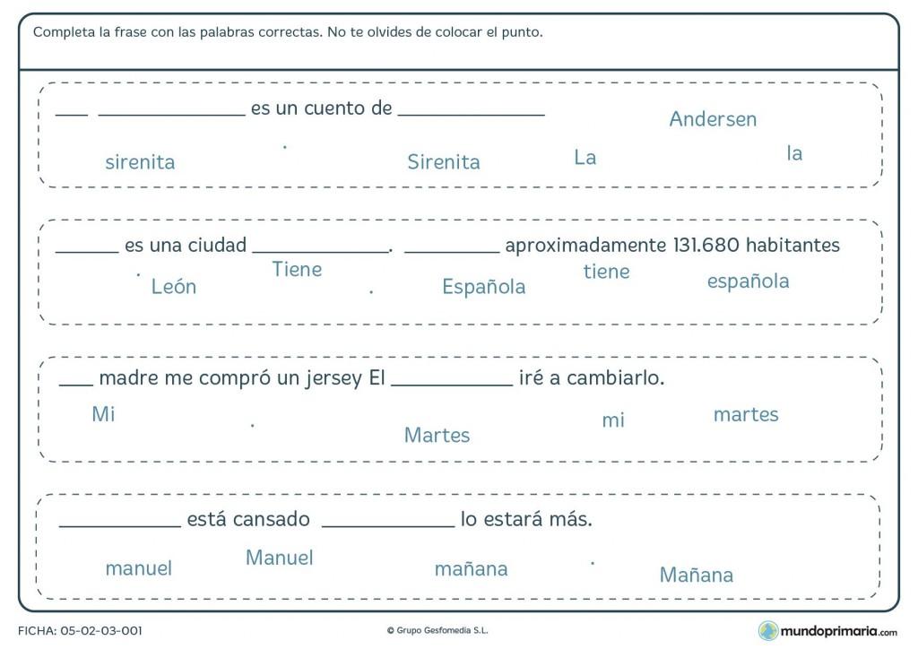 Ficha de lenguaje para completar las frases con las palabras correctas
