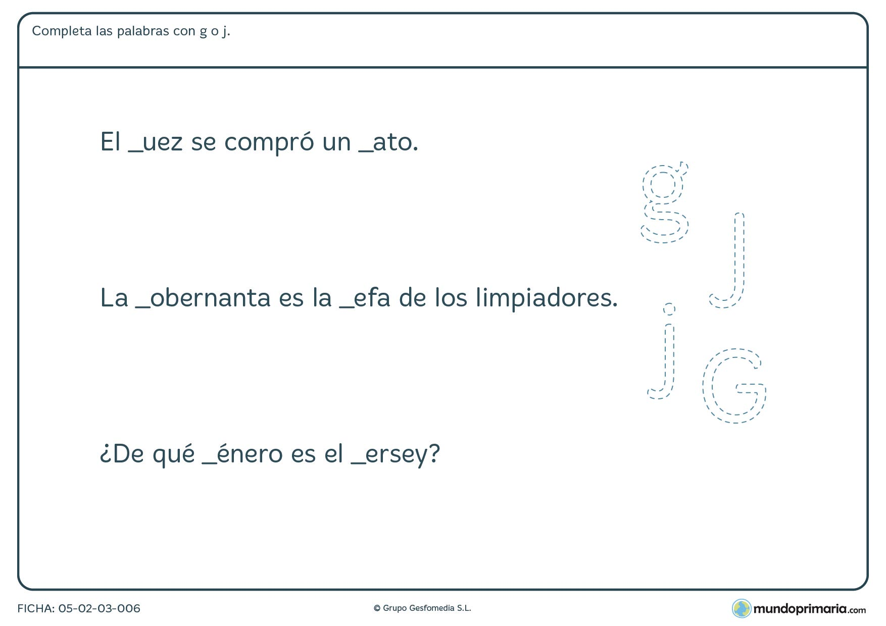 Ficha de lengua para niños de 3º de Primaria sobre las letras g y j