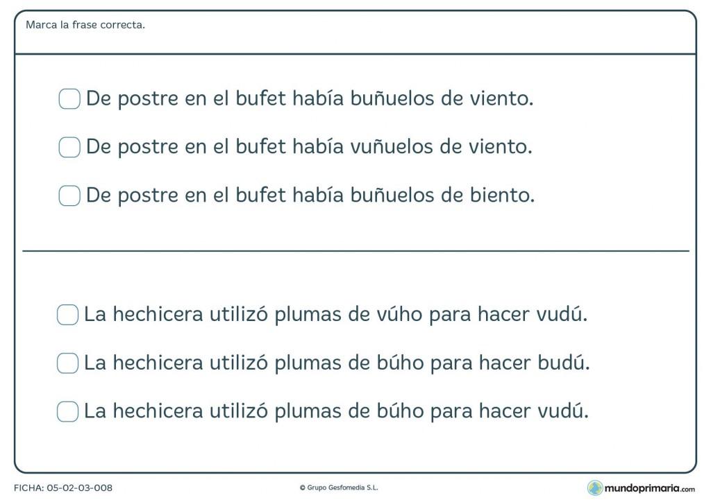 Ficha de lenguaje para marcar la frase correcta para 3º de Primaria