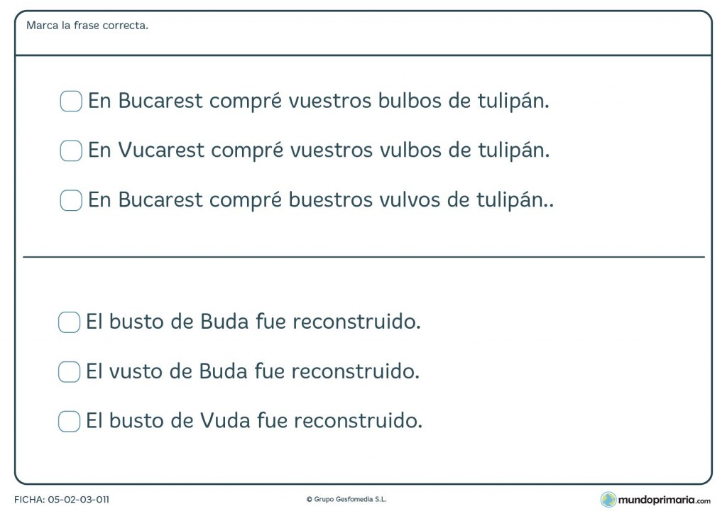 Ficha de B y V para niños que estudian 3º de educación primaria