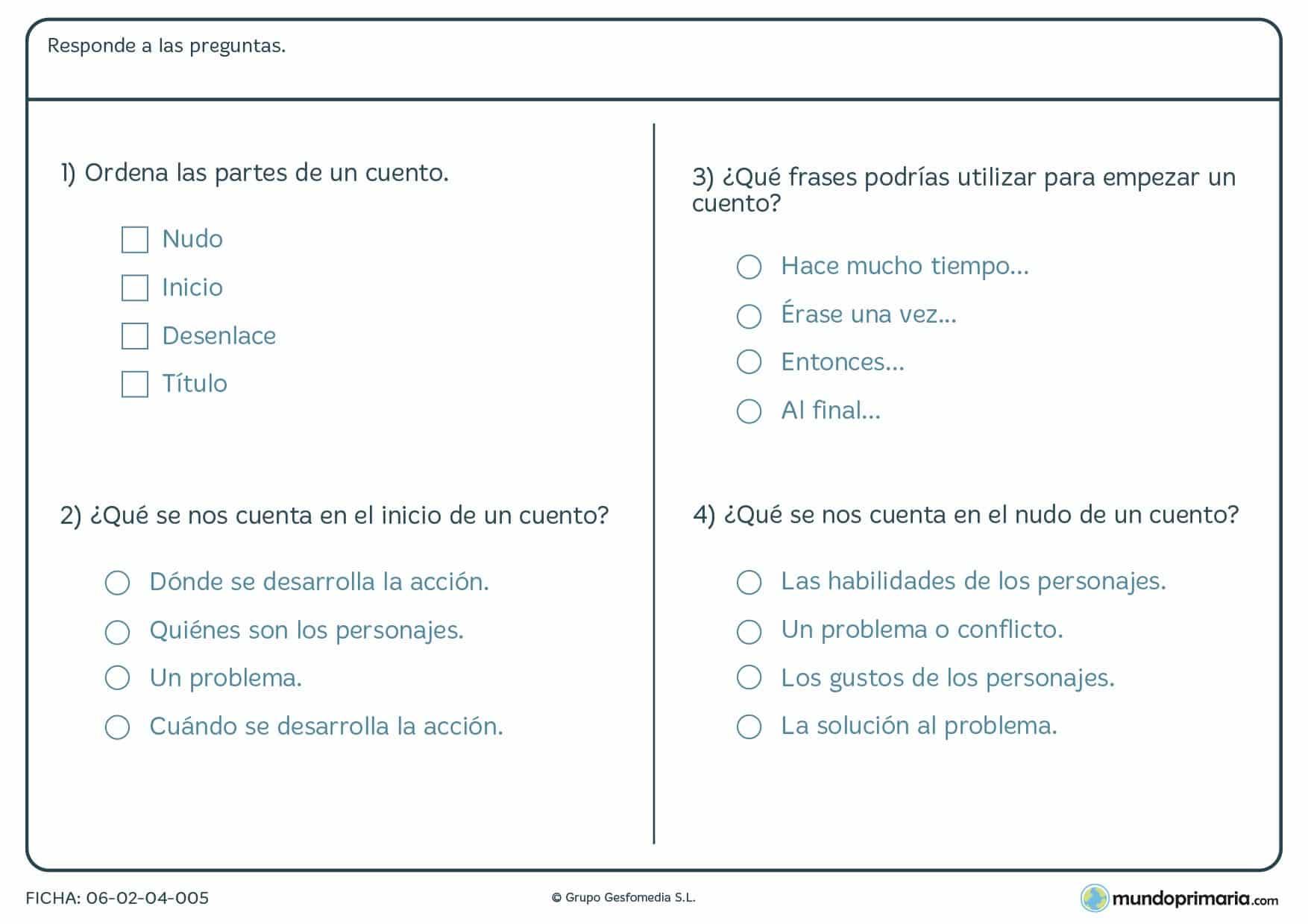 Ficha de lenguaje sobre preguntas de las partes de un cuento