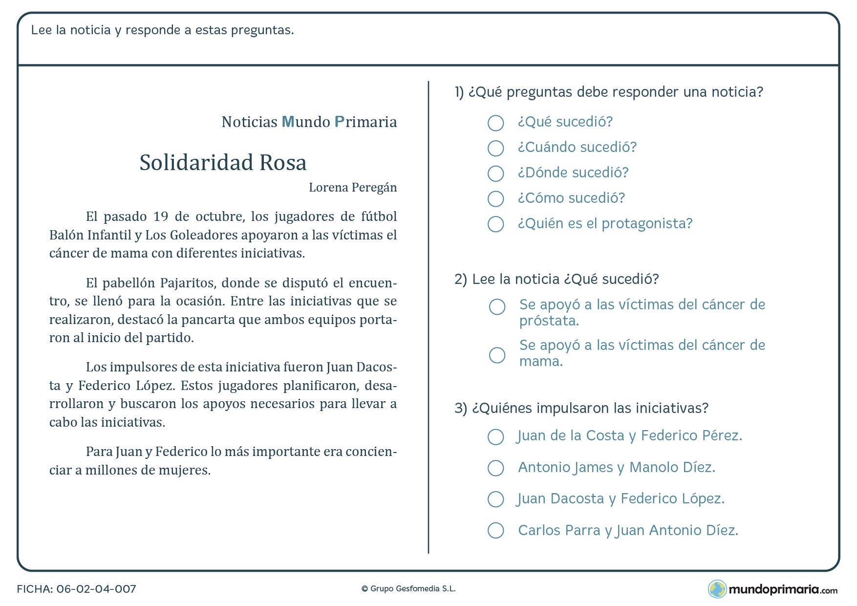 """Ficha de la noticia """"Solidaridad Rosa"""" para responder a las preguntas"""