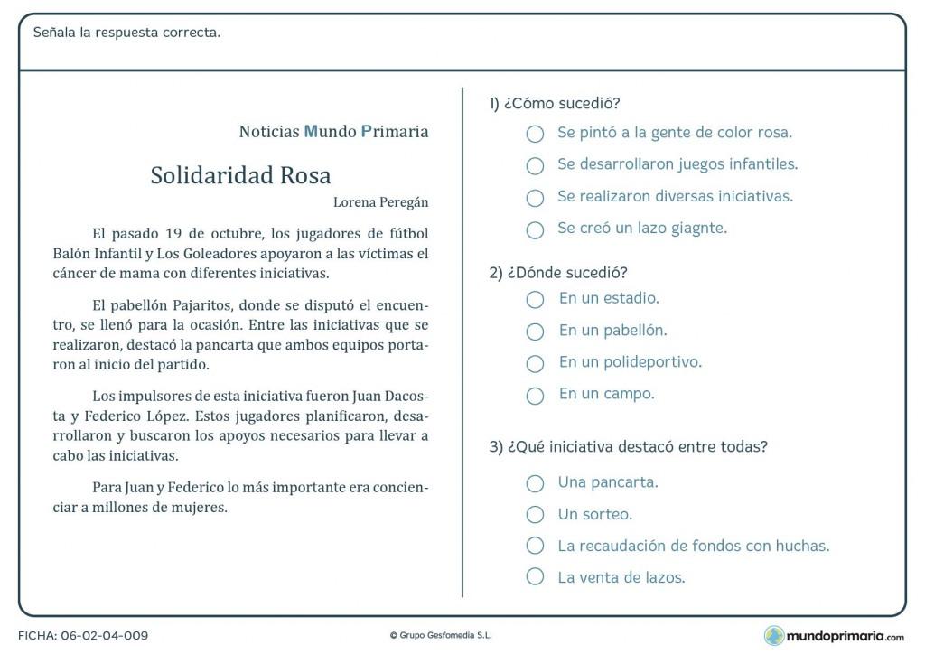 Ficha de señalar las respuestas correctas sobre una noticia para 4º