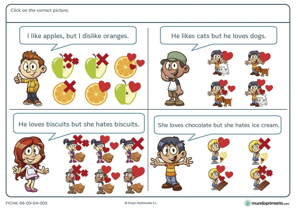 Ficha de elegir la imagen correcta en inglés para primaria