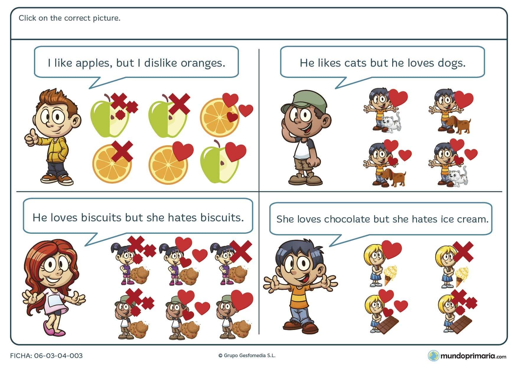En esta ficha de elegir la imagen correcta en inglés para alumnos de 4º de primaria tienes que leer las frases y elegir los dibujos que concuerden con las frases.