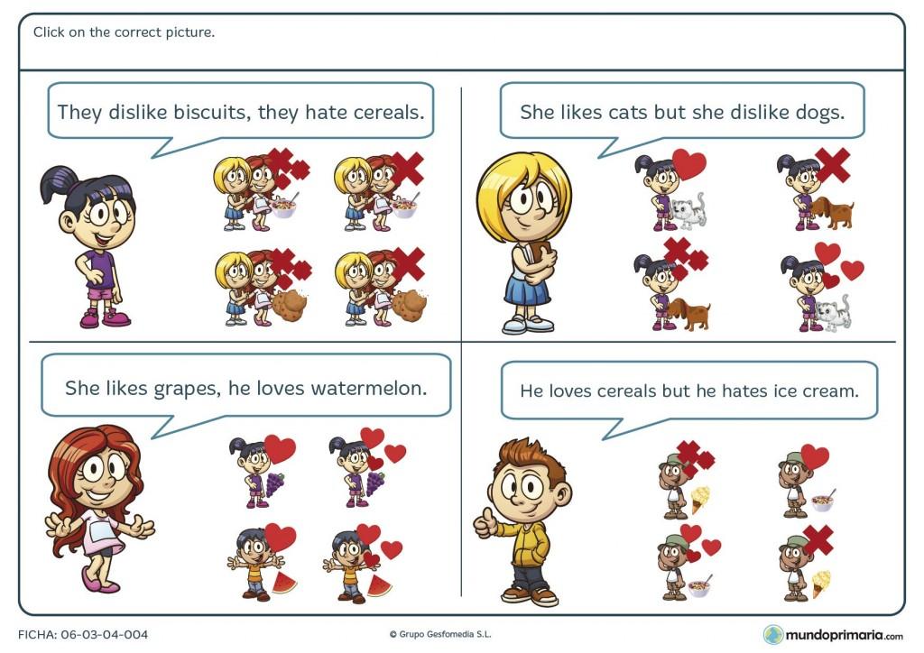 Ficha de encontrar y seleccionar los dibujos que se corresponden con las frases iniciales en inglés para primaria.
