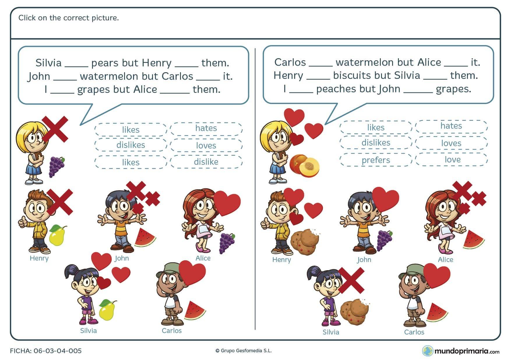 Ficha de identificar la forma verbal en inglés de las situaciones que se disponen en los dibujos para niños de 4º de primaria.