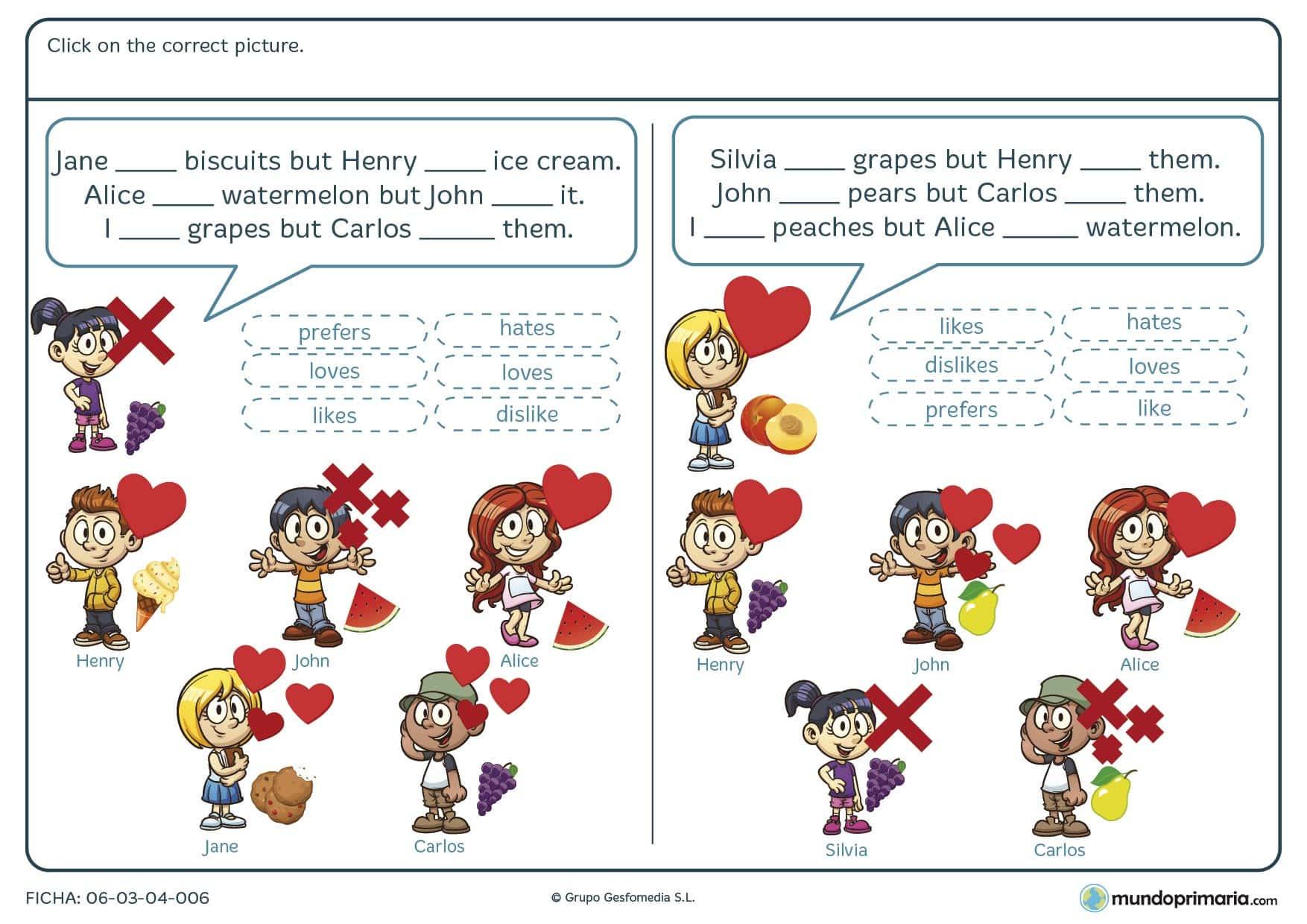 Ficha de elegir el verbo correcto en inglés para primaria