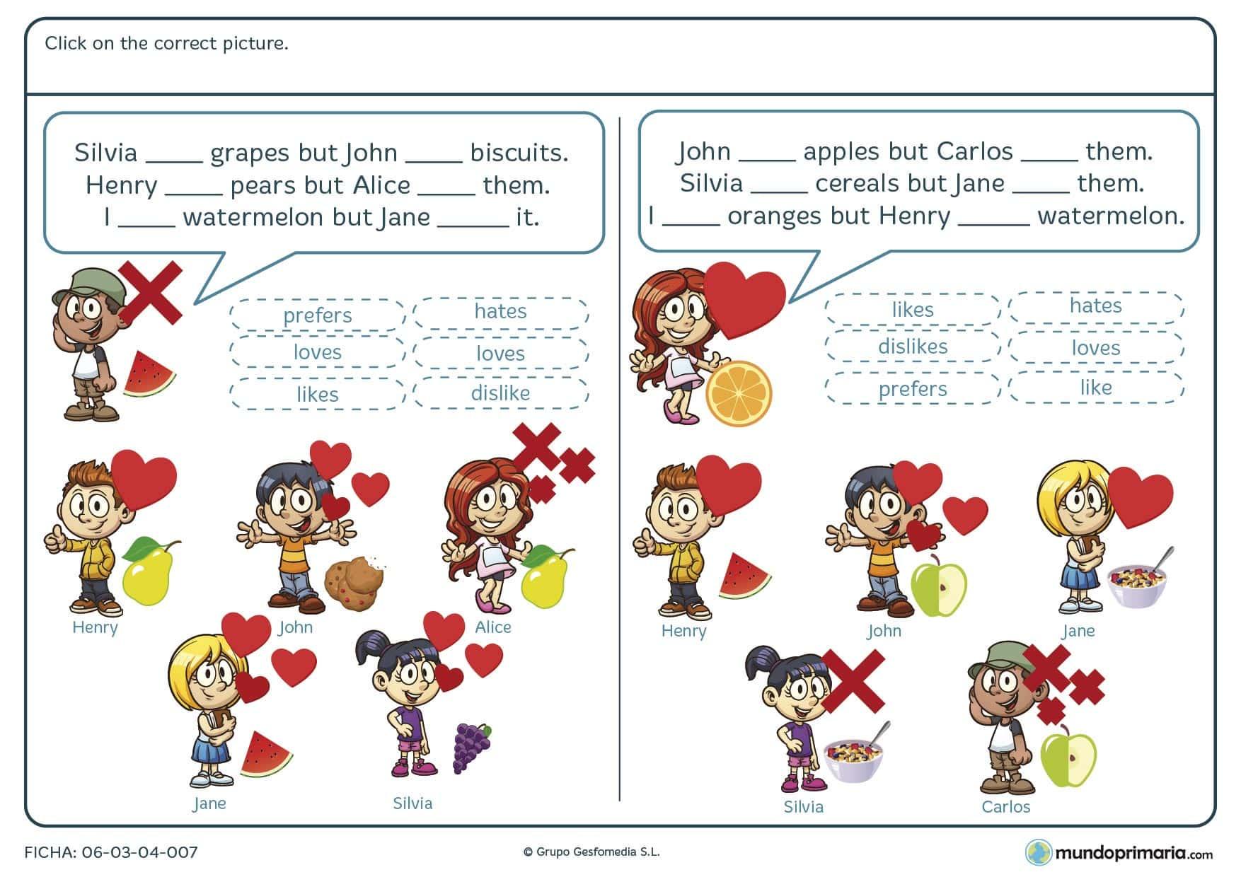 Ficha de escoger el tiempo verbal en inglés para 4º de primaria