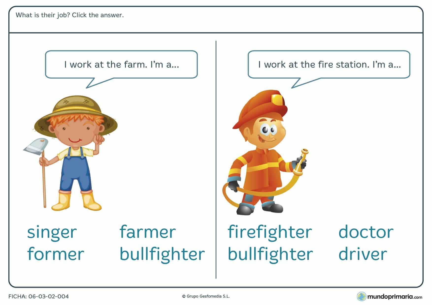 Ficha de identificar el trabajo en inglés para 4º de primaria