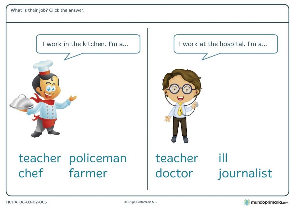 Ficha de seleccionar la profesión correcta en inglés para primaria