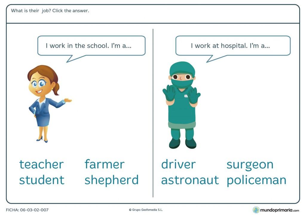 Ficha de elegir la profesión correcta en inglés para niños de primaria