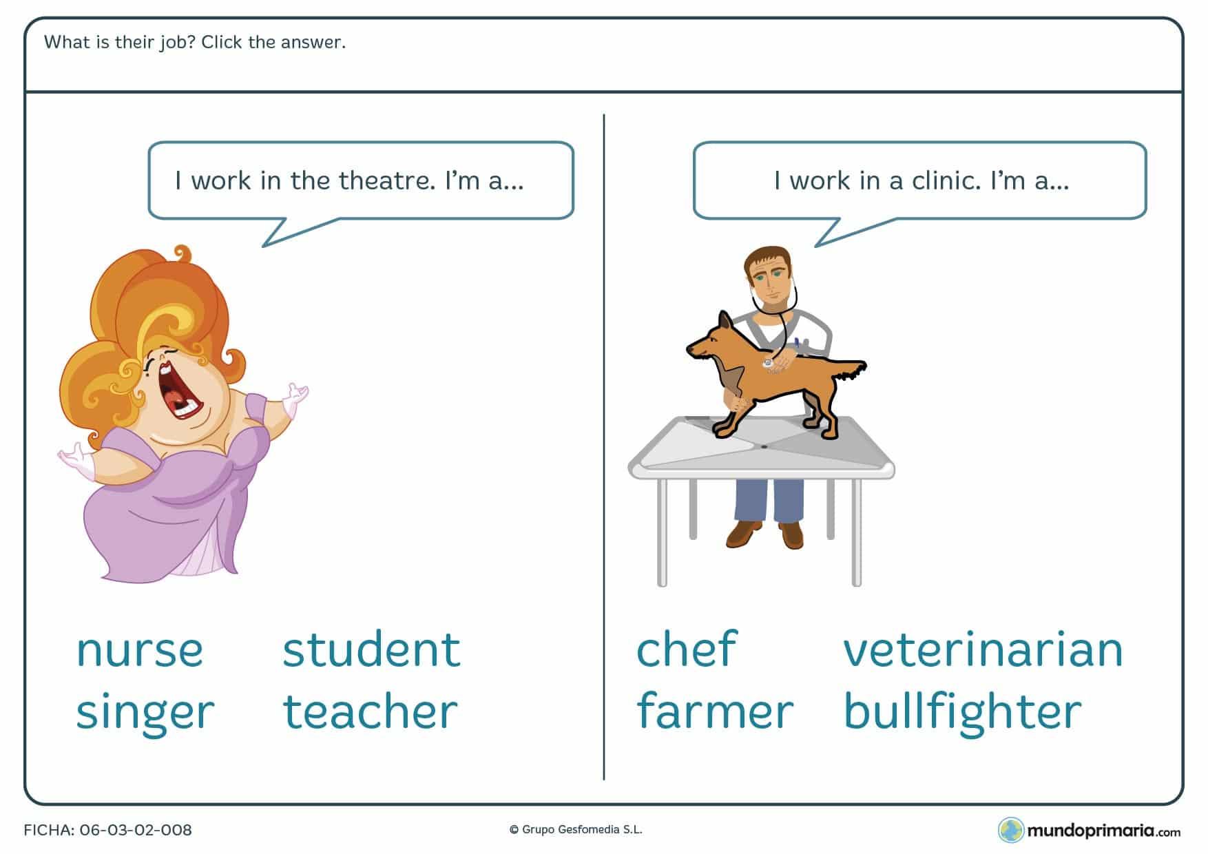 Ficha de repasar las profesiones en inglés para 4º de primaria