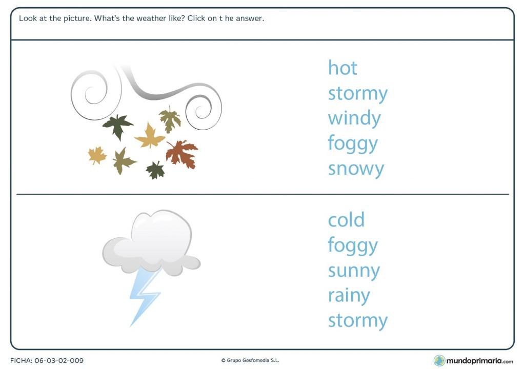 Ficha de identificar la meteorología en inglés para primaria
