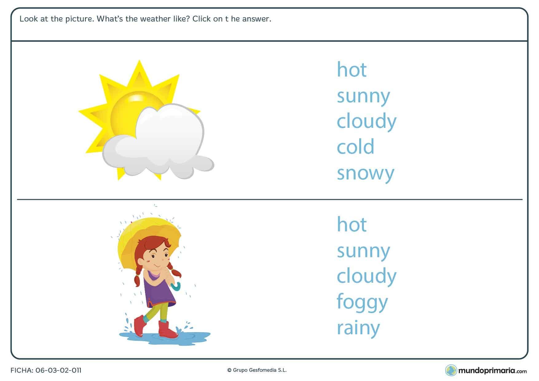 Ficha de repasar el clima en inglés para primaria