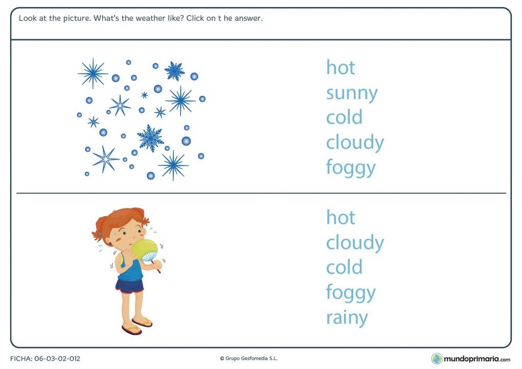 Ficha de identificar el tiempo que hace en inglés para primaria