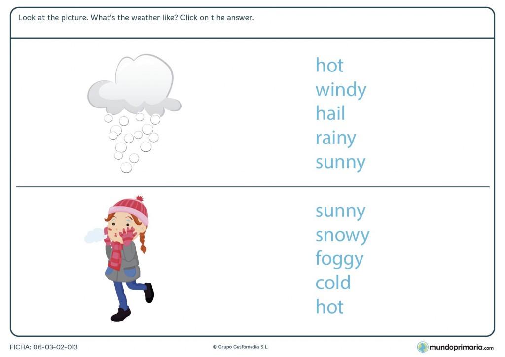 Ficha de repasar la meteorología en inglés para 4º de primaria