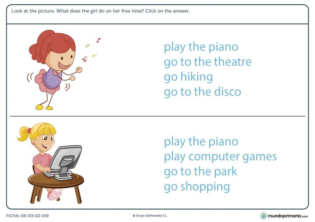Ficha de seleccionar actividades en inglés para 4º de primaria