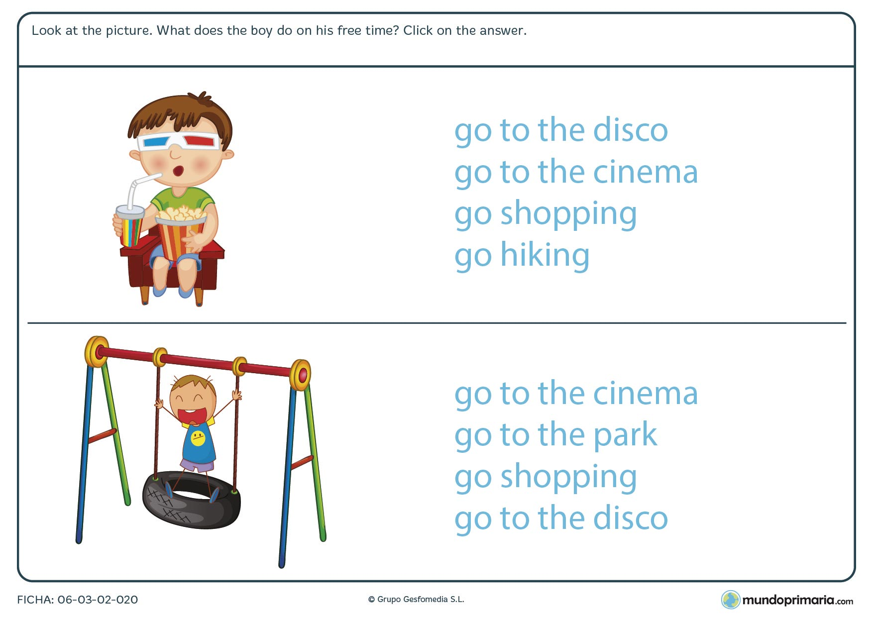 Ficha de identificar ocupaciones para cuarto de primaria en inglés