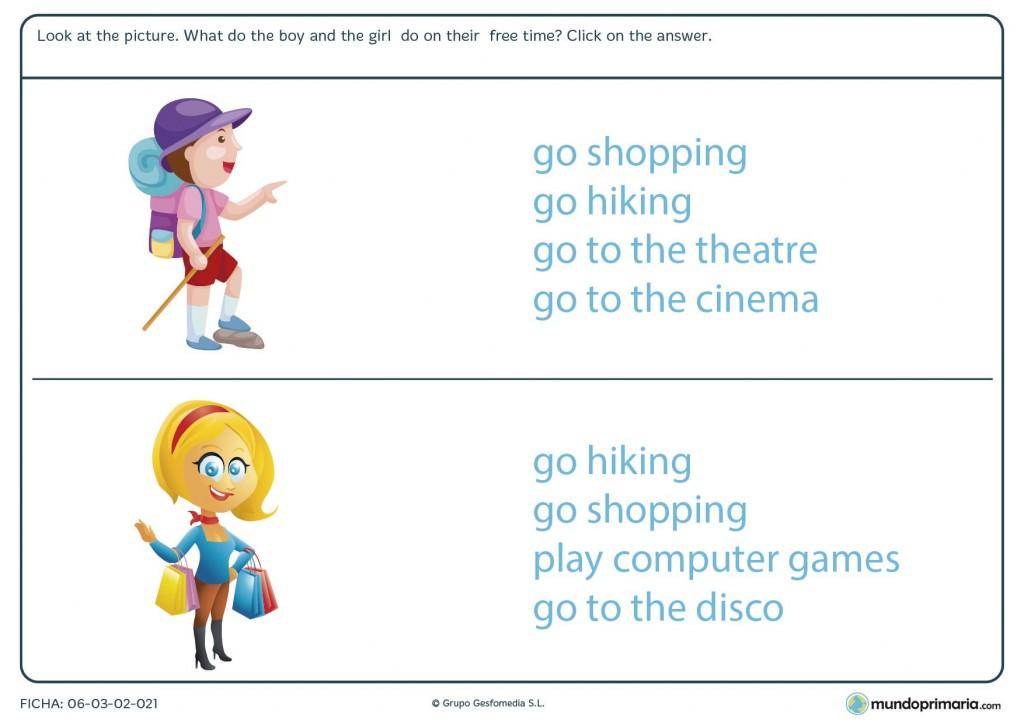 Ficha de repasar actividades de tiempo libre en inglés para primaria