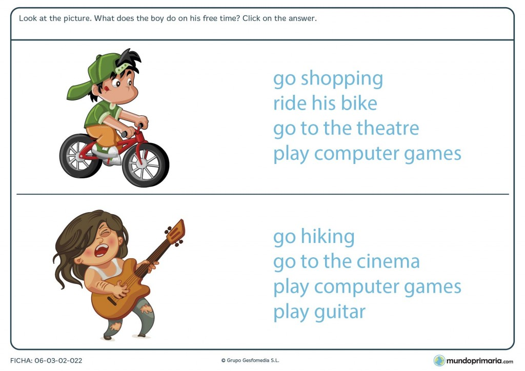 Ficha de elegir la acción que se desempeña en inglés para primaria