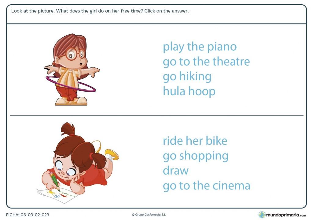 Ficha de identificar actividades libres en inglés para primaria